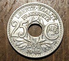 SUPERBE PIECE DE 25 CENTIMES 1914 CENTIMES SOULIGNÉS (24)