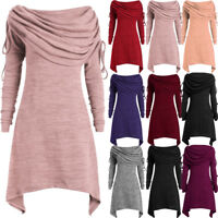 Plus Size Womens Dress Ruched Long Foldover Collar Tunic Top Blouse Tops Pleated