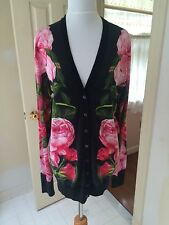 NWT $1795 Dolce &Gabbana IT 40 US 6 cashmere, silk rose print cardigan 2017 spri