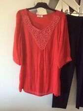 FILO Christmas Red Tunic Top Blouse Lightweight Elbow Sleeve Crushed 12 14