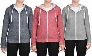Ladies Hoodie Full Zip Long Sleeve Womens Sweatshirt Kangaroo Pocket Hoody