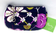 Vera Bradley Floral Nightingale Clip Zip ID Case Luggage Tag Coin Purse Navy New