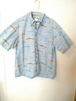 Columbia River Lodge Rainbow Brown Trout Short Sleeve Shirt Men's Large