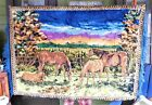 Large 48 by 70 Vintage 1970's Horse Tapestry / Wall-hanging or Rug Very Plush