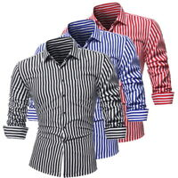 Mens Casual Striped Shirts Long Sleeve Slim Fit Strip Button Down Dress Shirts