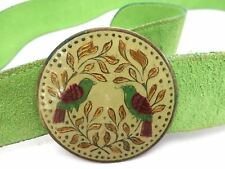 Vintage Belt Lime Green Suede Belt Enameled Birds Tole Look Buckle 1960S