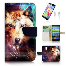 ( For Samsung S5 ) Wallet Case Cover Wolf Art P0513