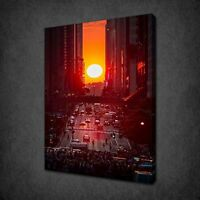 MANHATTAN 42ND STREET SUNSET NY CANVAS WALL ART PRINT PICTURE READY TO HANG