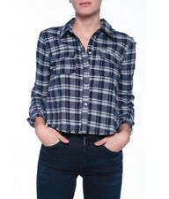 ELIZABETH AND JAMES BUCKLEY PLAID FRAYED HEM SHIRT SMALL