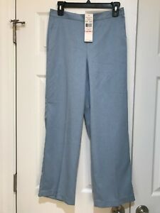 $46 NWT Womens ALFRED DUNNER Light Blue Elastic Back Pants Size 10P 10 Petite