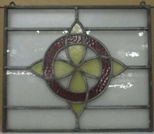 """OLD ENGLISH LEADED STAINED GLASS WINDOW Unframed w Hooks Circle 16.25"""" x 14"""""""