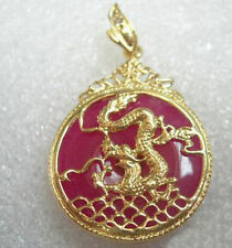 Mauve Purple Red Jade Yellow Gold Plated Dragon Wave Fortune Pendant & Necklace