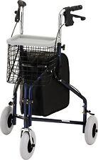 Medical Traveler 3 Wheel Rolling Walker Mobility Equipment Basket Pouch Tray