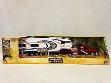 Wild Hunting Pickup Diecast , w/Trailer Camping, Fishing Play Set, New-Ray Toys