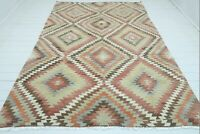 "Vintage Turkish Antalya Kilim Rug, Wool Diamond Dsg Rug Handmade Carpet 76""X112"""