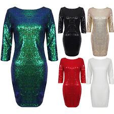 Sequin 3/4 Sleeve V Back Short Mini Stretch Bodycon Evening Sparkly Party Dress