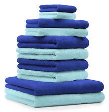 Betz Juego de 10 toallas PREMIUM 100% algodón de color azul y turquesa
