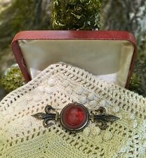 Vintage Antique Style Extasia Cranberry Glass Cameo Jewelry Pin Brooch Signed