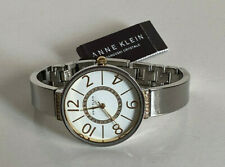NEW ANNE KLEIN WHITE GOLD SWAROVSKI CRYSTALS DIAL SILVER-TONE BRACELET WATCH $75