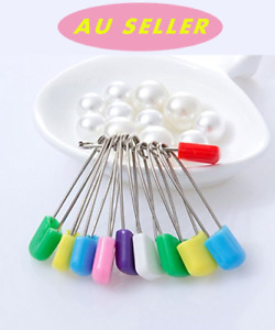 10PCS 50MM NAPPY SAFETY PINS Metal Plastic Craft Scrapbook Sewing Baby diaper