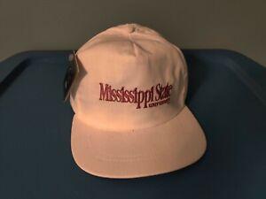 Vintage 90s Mississippi State Bulldogs White Adjustable Strapback Hat Cap