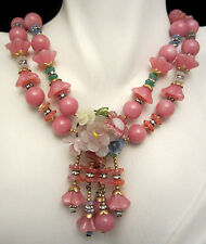 """Rare Vtg 20""""x2"""" Signed Miriam Haskell Pink Lucite Glass Rhinestone Necklace A12"""