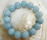 "10MM BRAZILIAN AQUAMARINE GEMS ROUND BEADS STRETCHY BRACELETS 7.5"" J22"