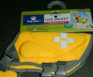 NWT TOP PAW NEOPRENE DOG LIFE JACKET YELLOW Quick Release Handle X-SMALL  #PAL7