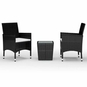 3 Piece Bistro Set Poly Rattan and Tempered Glass Black