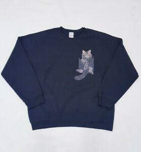 GILDAN American Vintage Black Graphic Print Cat Sweatshirt •L•