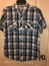 David Bitton Buffalo Men's Double Pocket BLue Plaid Button Down Shirt Large