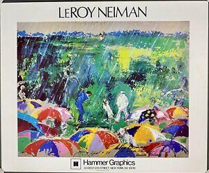 "1973 Leroy Neiman Poster of ""Arnie in the Rain"" Augusta National 23x28"" Vintage"