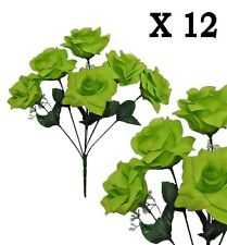"(Pack of 12) Green Microfiber Rose 14""Bush Wedding Party Home Decor Silk Flower"