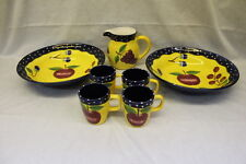 "7pc Laurie Gates Ware FRUIT on Yellow +Dots on Blue Trim: 14"" Bowls Mugs Pitcher"