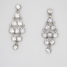 Lia Sophia jewelry silver plated drop dangle post earrings hoop cut crystals