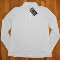 Nike Dri-FIT UV Victory 1/2 Zip Golf Shirt Women L BV0235-100 White Stripes New