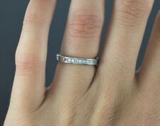 14K White Gold Round Cut Diamond Channel Set Anniversary Wedding Band Ring