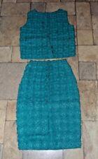 Women's Vintage 1950's / 60's Crochet Raffia 2 Piece Pencil Skirt & Top Small
