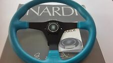 NARDI GARA 3/0 Steering wheel light blue leather 350 mm Black spokes