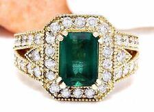 3.50 Carat Natural Emerald 14K Solid Yellow Gold Diamond Ring