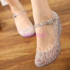 2017 Womens Sandals High Heels Girls Wedge Glass Jelly Shoes Slipper Summer Size