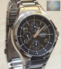 Casio EDIFICE Analog Dress EF-316D-1 Stainless Steel Black Watch Original + Gift