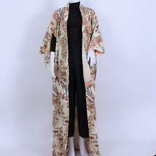 Vintage Cream Multi Floral Embellished Pattern Full Length Kimono Free Size