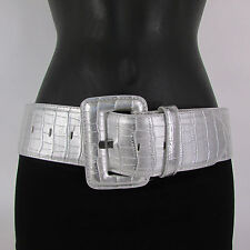 New Women Fashion Wide Belt Faux Leather hip Waist Black White Silver Red S M L