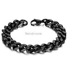 High Polished Men's Stainless Steel Heavy Curb Chain Biker Wrist Link Bracelet