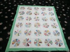 """Vintage Hand Sewn Quilt Top Dresden Plate 70"""" x 80"""""""