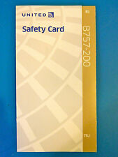 UNITED AIRLINES SAFETY CARD--757-200J TRANSCON PS PLANE