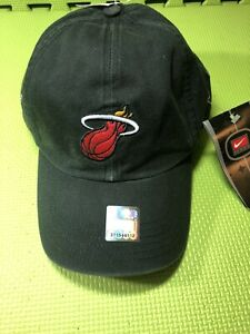 Vintage Nike Team Miami Heat Strap back Adjustable Hat Cap Black