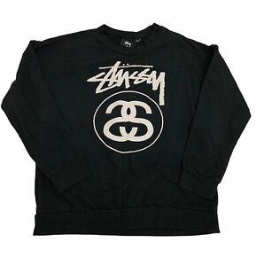 Vintage Stussy Size XS Enlarged Logo Cotton Long Sleeve Skateboarding Crew Neck