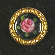 """VTG Gold Tone Metal and Glass Picture Sewing Button Reverse Painting Rose 3/4"""""""